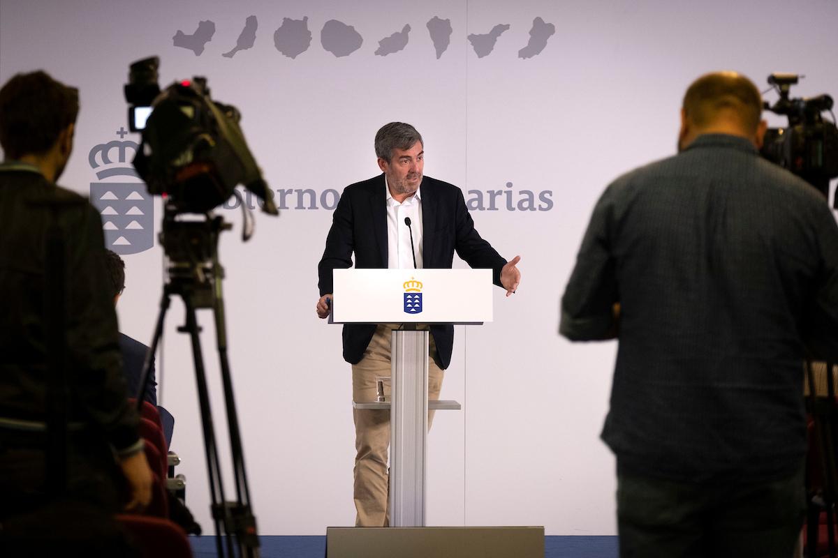Fernando Clavijo en la rueda de prensa del Consejo de Gobierno