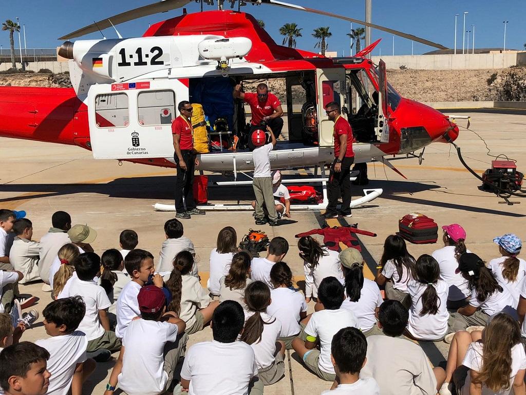Escolares de Fuerteventura durante la visita