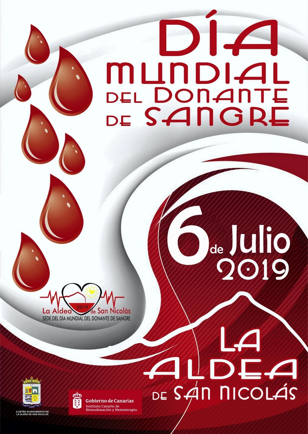 Cartel del Día Mundial del Donante de Sangre en La Aldea