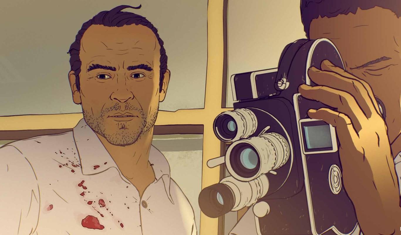 Fotograma de la película de animación sobre Kapuscinski