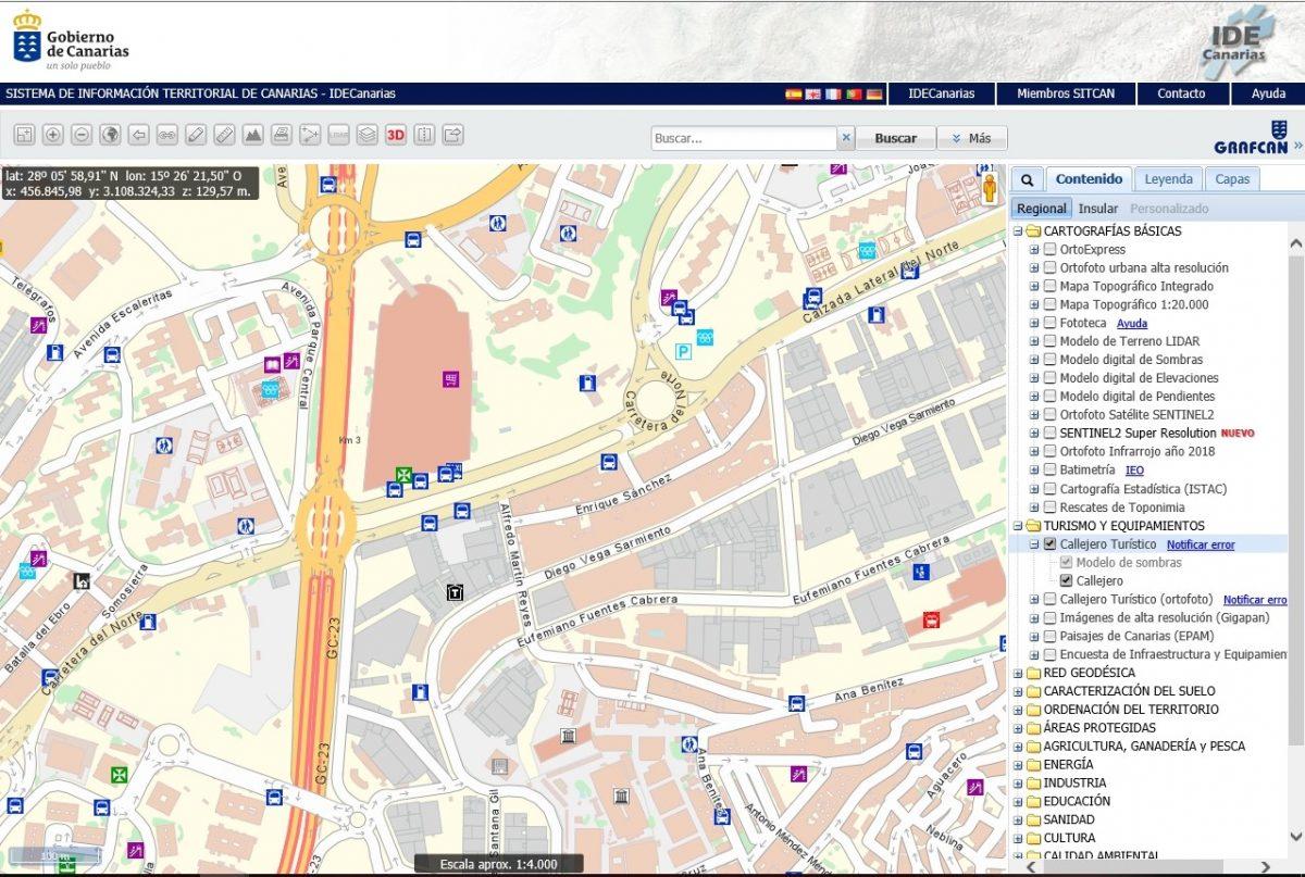 El SITCAN actualiza el mapa callejero de Canarias