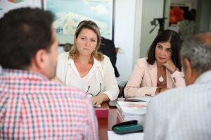 Vanoostende y Darias durante la reunión con Fedex