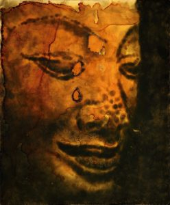Jiri Dokoupil. Buda con agujeros. Humo de vela sobre madera