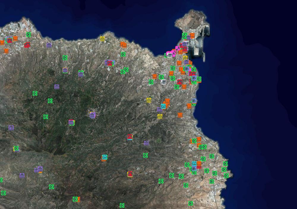 Visor de Grafcan mapa de espacios culturales