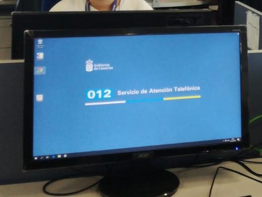 Ordenador de la Sala de atención telefónica del 012 Gobierno de Canarias