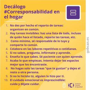Decálogo #corresponsabilidad en el hogar