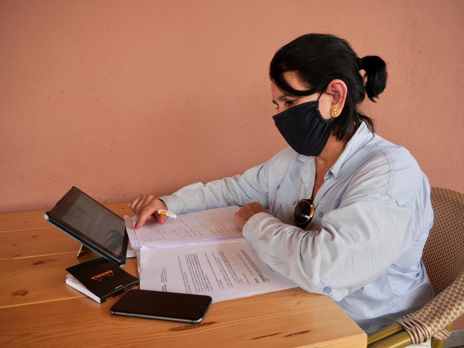 Nona Perera durante la reunión virtual del Consejo