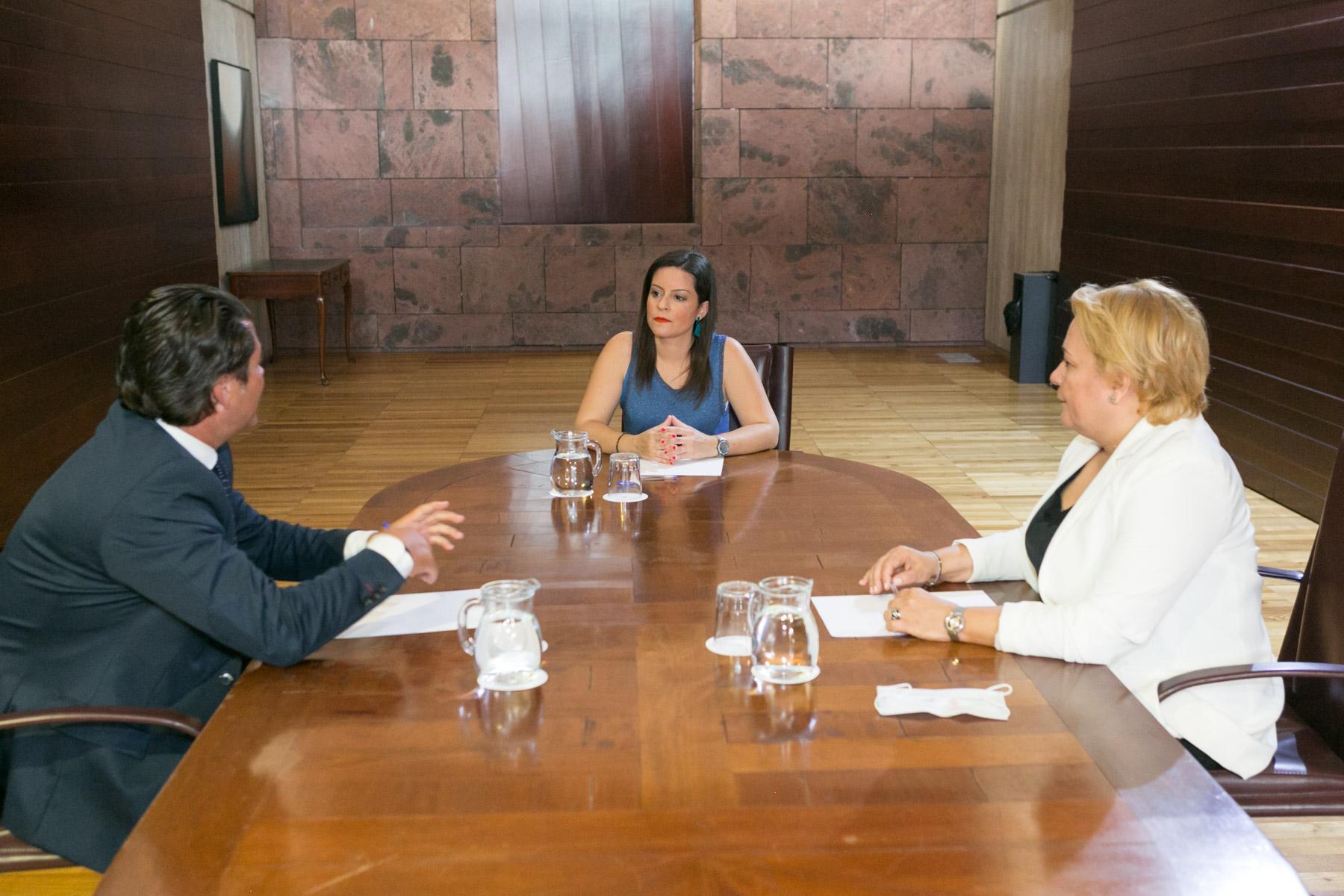 La consejera Yaiza Castilla con representantes de AXA Seguros.