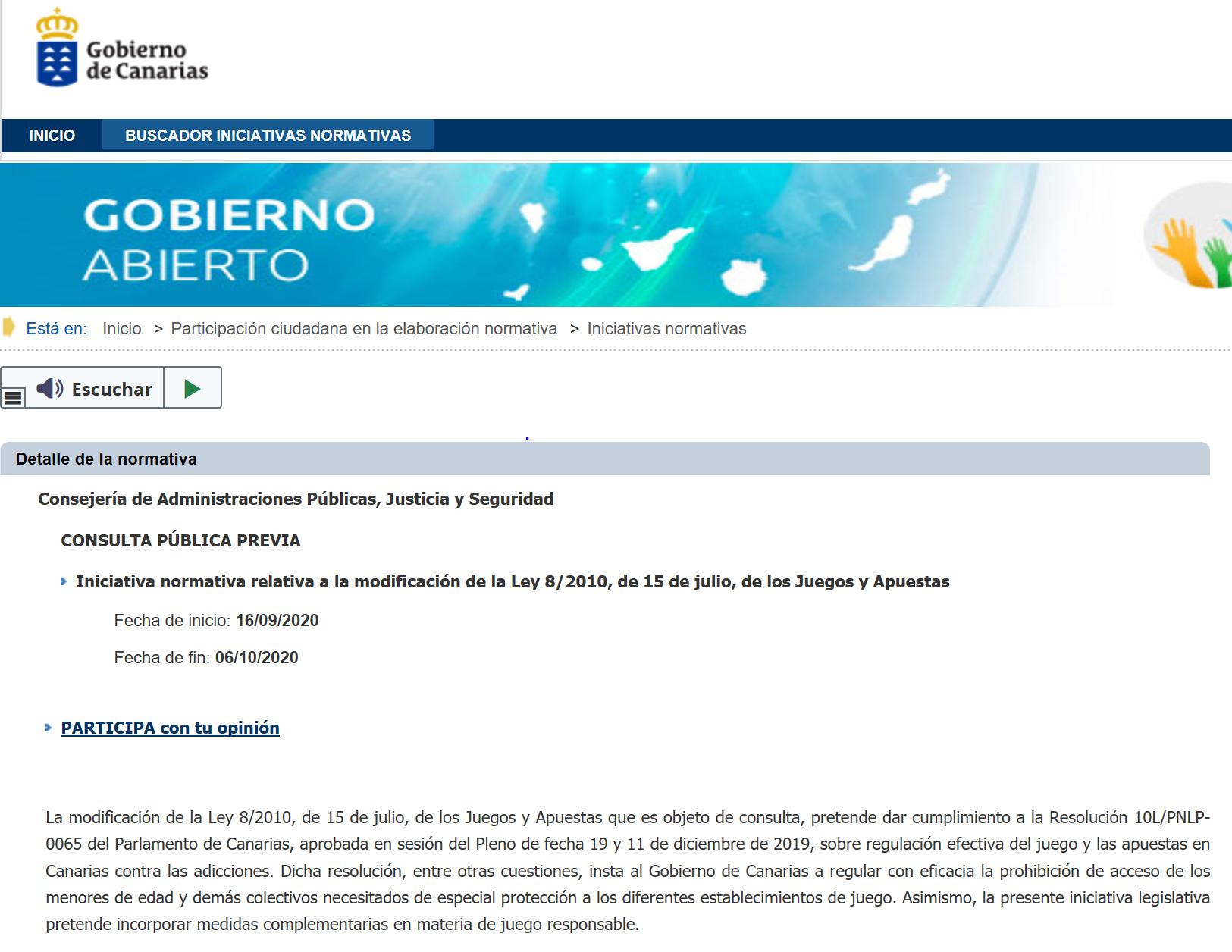 Fase de consulta pública previa de la modificación de la Ley 8/2010 de Canarias