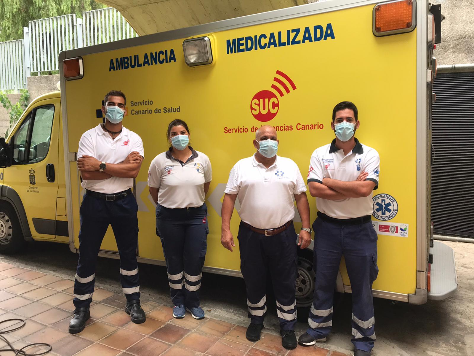 Dotación de ambulancia medicalizada del SUC en La Palma
