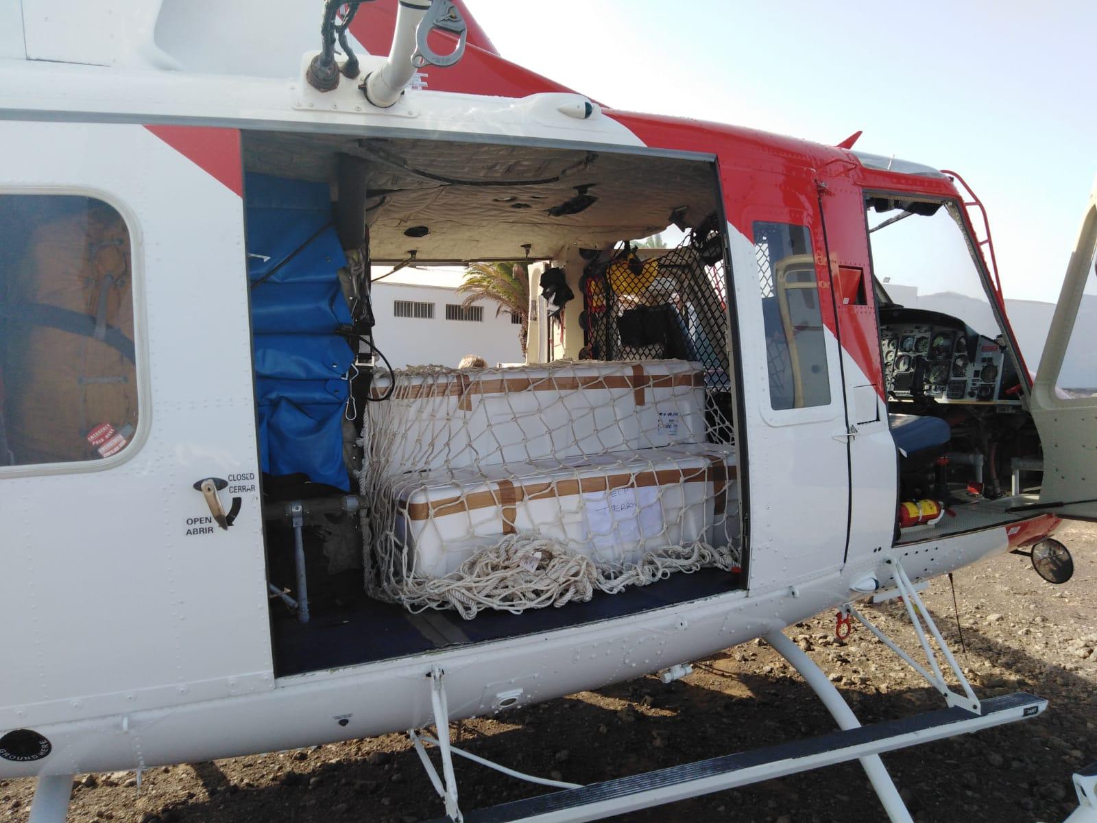 Helicóptero de GES Aire en traslado de pruebas PCR