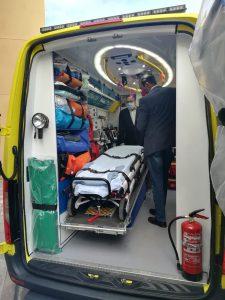 Consejero de Sanidad y presidente del Cabildo de Fuerteventura en ambulancia SUC