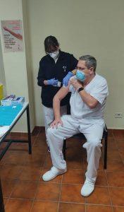 Momento de la vacunación en Tenerife.