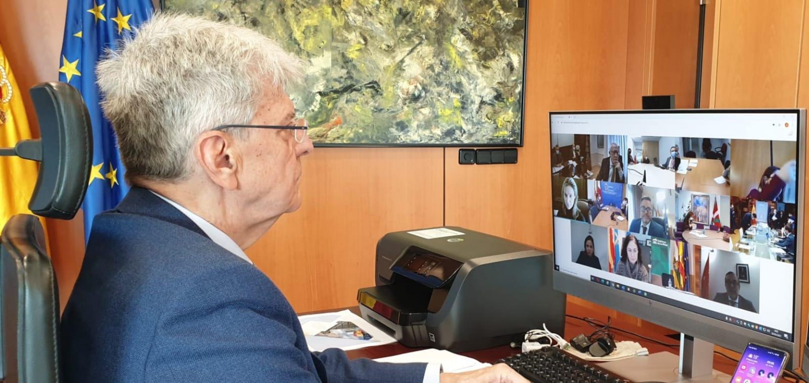 Julio Pérez, mientras participa en la Conferencia Sectorial de Justicia del 18 de marzo de 2021