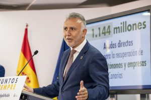 El presidente de Canarias, durante la comparecencia.