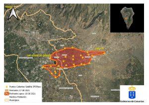 Mapa del perímetro del incendio de La Palma