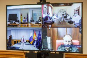 Vista de las cuatro salas que intervinieron en la reunión de la Comisión Mixta